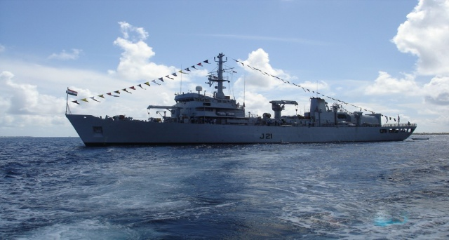 Image of Naval ship Darshak in the sea.